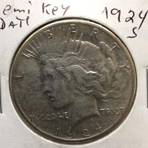 Lot 52 - 1924S Semi Key Date Peace SILVER Dollar