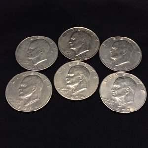 Lot 53 - Six Eisenhower Dollars, 1971D, 1972, Two 1972D, 1974, 1977