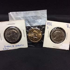 Lot 55 - Three Dollars: 1979 and 1981-S Susan B Anthony, 2006-D ChProof-63 Sacagawea
