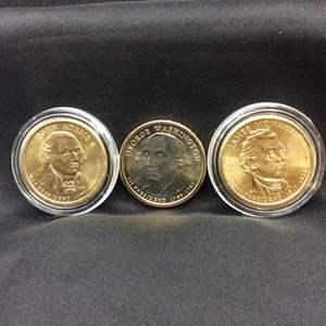 Lot 56-  Three UNC Presidential Dollars, Adams, Washington, Monroe