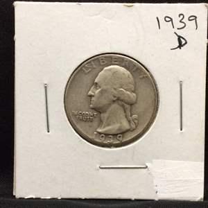 Lot 68- 1939D SILVER Washington Quarter Dollar