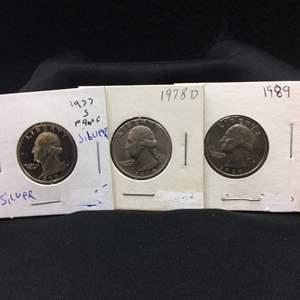Lot 70- Set of three Vintage SILVER Washington Quarter Dollars, 1977-S PROOF, 1978-D, 1989