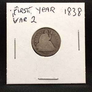 Lot 71- 1838 FIRST YEAR SILVER Variety 2 Seated Liberty Dime
