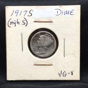 "Lot 73- 1917S SILVER Mercury Dime ""Winged Liberty Head"""