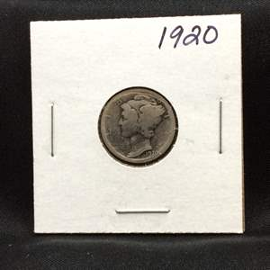 "Lot 74- 1920 SILVER Mercury Dime ""Winged Liberty Head"""