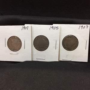 "Lot 79- 1901, 1905, 1907 set of three Liberty Head ""V"" Nickels"