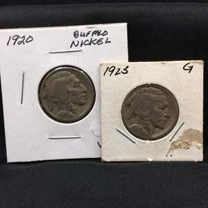 Lot 83- set of two Buffalo Nickels, 1920, 1923
