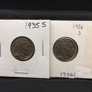 Lot 85- set of two Buffalo Nickels, 1935S, 1936S