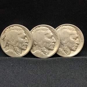 Lot 86- Set of Three Buffalo Nickels