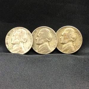 Lot 88- set of three Jefferson SILVER War Nickels, 1943P, 1945D, 1945S