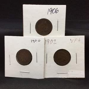 Lot 93- Three Indian Head Cents, 1900, 1902, 1906