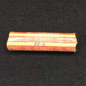 Lot 105- 1998D Roll Lincoln Memorial Cents, rolled by collector decades ago, unsearched.