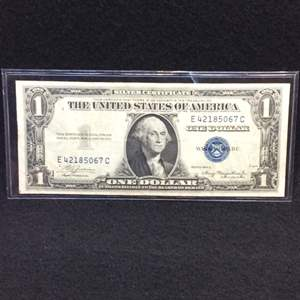 Lot 111- 1935 A United States One Dollar Silver Certificate Currency Note, Blue Seal.