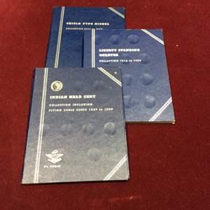 Lot 124 - Three Whitman Folders, Indian Head Cent No. 9003:35, Liberty Standing Quarter No. 9017, Shield Type Nickel No. 9006