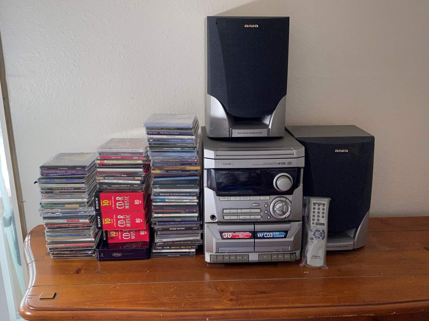 Lot# 77- Aiwa Stereo System With 3-CD Changer & Speakers, Stacks of CDs-Lots of Celtic & Christmas Titles   (main image)