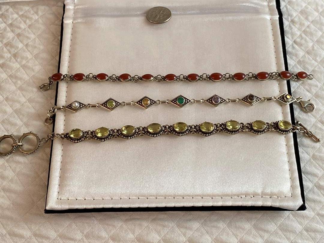 Lot #79- Three Gemstone and Silver Bracelets.  (main image)