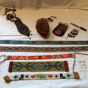 Auction Thumbnail for: Lot# 13 Native American Lot - 3 leather pouches decorated with beadwork, 6 beaded accessories