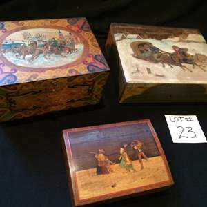 Auction Thumbnail for: Lot# 23 - Handmade wooden keepsake boxes - carved and painted