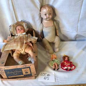 """Auction Thumbnail for: Lot# 45 - Vintage dolls - 1950's American character doll in original box, 20"""" - also a 20"""" doll with cloth body, marked on neck - two bisque dolls 5"""""""