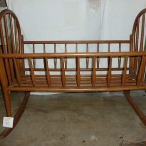 Auction Thumbnail for: Lot #75 - Vintage wood rocking cradle