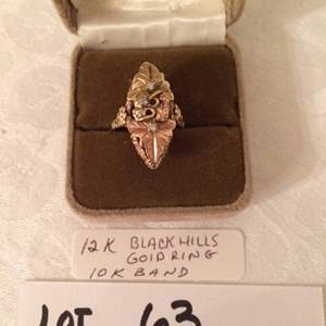 Auction Thumbnail for: Lot# 63 - 12K black hills gold ring with 10K band, genuine diamonds, size 6.5