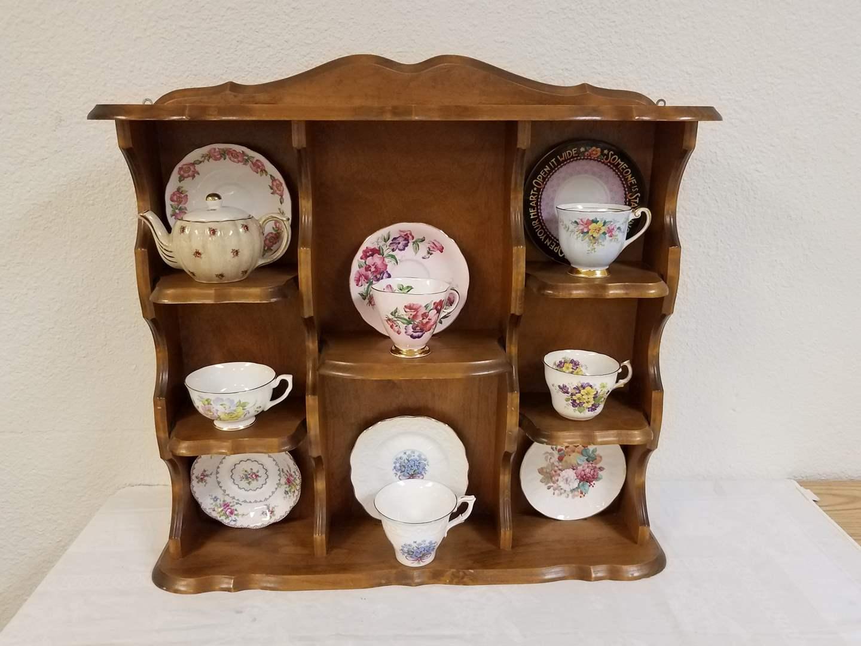 Lot 58 Solid Maple Teacup Curio Cabinet 2 Teacup Saucer Sets Single Cups Saucers England Teapot Puget Sound Estate Auctions