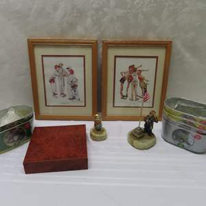 Auction Thumbnail for: Lot 29 - Pair of Framed Norman Rockwell Prints, Clown Sculptures & More