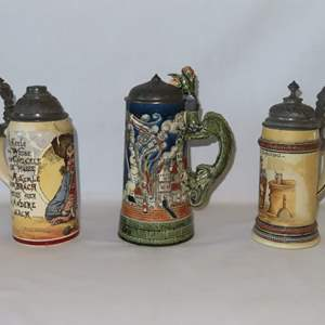 Auction Thumbnail for: Lot 89 - 3 Antique Beer Steins