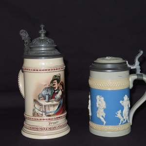 Auction Thumbnail for: Lot 95 - Pair of Vintage German Beer Steins - with Limited Edition