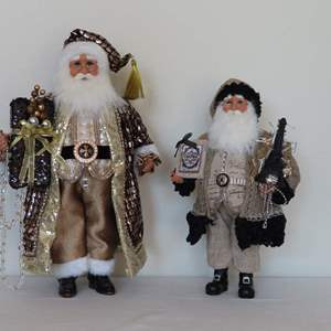 Auction Thumbnail for: Lot 126 - Pair of Karen Didion Original Santas - 1 with Lights
