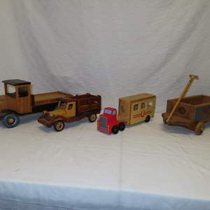 Auction Thumbnail for: Lot 2 - Wooden Trucks and Wagon