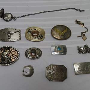 Auction Thumbnail for: Lot 11 - Collection of Belt Buckles - with Montana Silversmiths Buckle