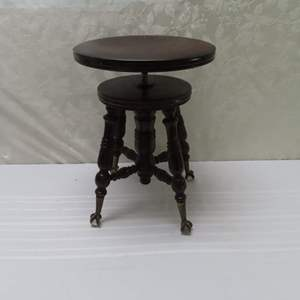Auction Thumbnail for: Lot 37 - Antique Piano Stool - with Claw and Glass Ball Feet