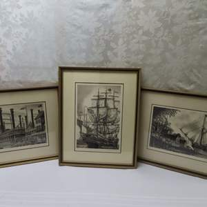 Auction Thumbnail for: Lot 48 - 3 Signed Etchings by Alan J. Gaines