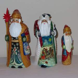 Auction Thumbnail for: Lot 37 - 3 Carved Wooden Santas - from Russia
