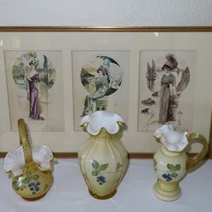 Auction Thumbnail for: Lot 158 - 3 Fenton Glass Vases, plus Victorian Picture