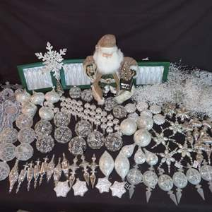 Auction Thumbnail for: Lot 183 - Karen Didion Originals Santa, plus Lots of Ornaments and Garland