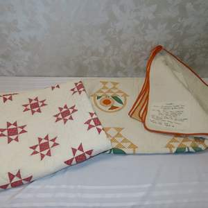Auction Thumbnail for: Lot 33 - Pair of Old Handmade Patchwork Quilts - 1 with Note