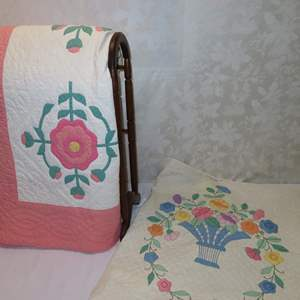 Auction Thumbnail for: Lot 49 - Pair of Antique Quilts and Quilt Rack