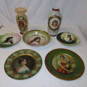 Auction Thumbnail for: Lot 54 - Antique Portrait Vases, Plates, and Covered Dish