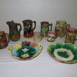 Auction Thumbnail for: Lot 61 - Vintage Majolica Pitchers, Cups and Bowls