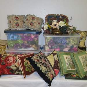 Auction Thumbnail for: Lot 108 - Variety Lot - Bins of Artificial Flowers, Pillows and More
