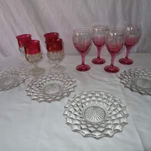Auction Thumbnail for: Lot 3 - Antique Pink and Cranberry Glass Stemware, Plus Fostoria Plates