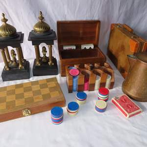 Auction Thumbnail for: Lot 14 - Vintage Variety Lot - Bookends, Chess Set, Poker Set & More