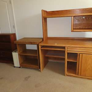 Auction Thumbnail for: Lot 35 - Oak Computer Desk, with Rolling Stand and Bookshelf and Shredder