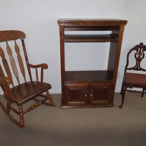 Auction Thumbnail for: Lot 99 - Vintage Rocking Chair, Cabinet and Antique Chair