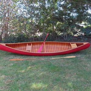 Auction Thumbnail for: Lot 31 - Beautiful Vintage Wooden Canoe – 16'