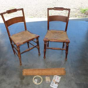 Auction Thumbnail for: Lot 49 - Pair of Antique Chairs with Woven Seats - and New Cane