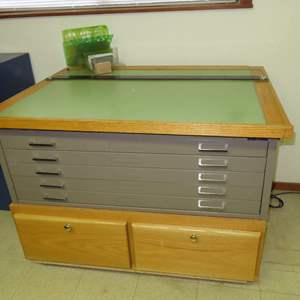 Auction Thumbnail for: Lot 107 - Drafting Table - on Blueprint Drawer Cabinet, with Lots of Extras