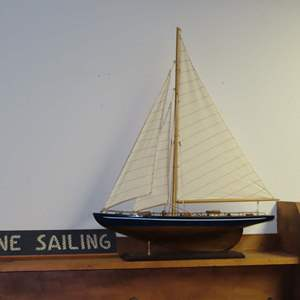 Auction Thumbnail for: Lot 129 - Wooden Sailboat & Picture